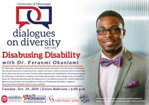 Photo of Dr. Feranmi Okanlami's poster which details the time, date, location, and purpose of his keynote speaking event.
