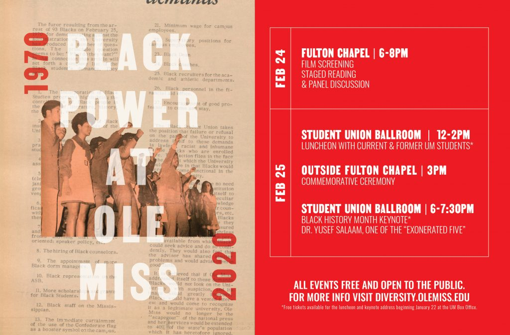 """Schedule of events for """"Black Power at Ole Miss"""": Remembrance, Reckoning, and Repair at Fifty Years"""